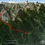 L'itinerario su Google Earth